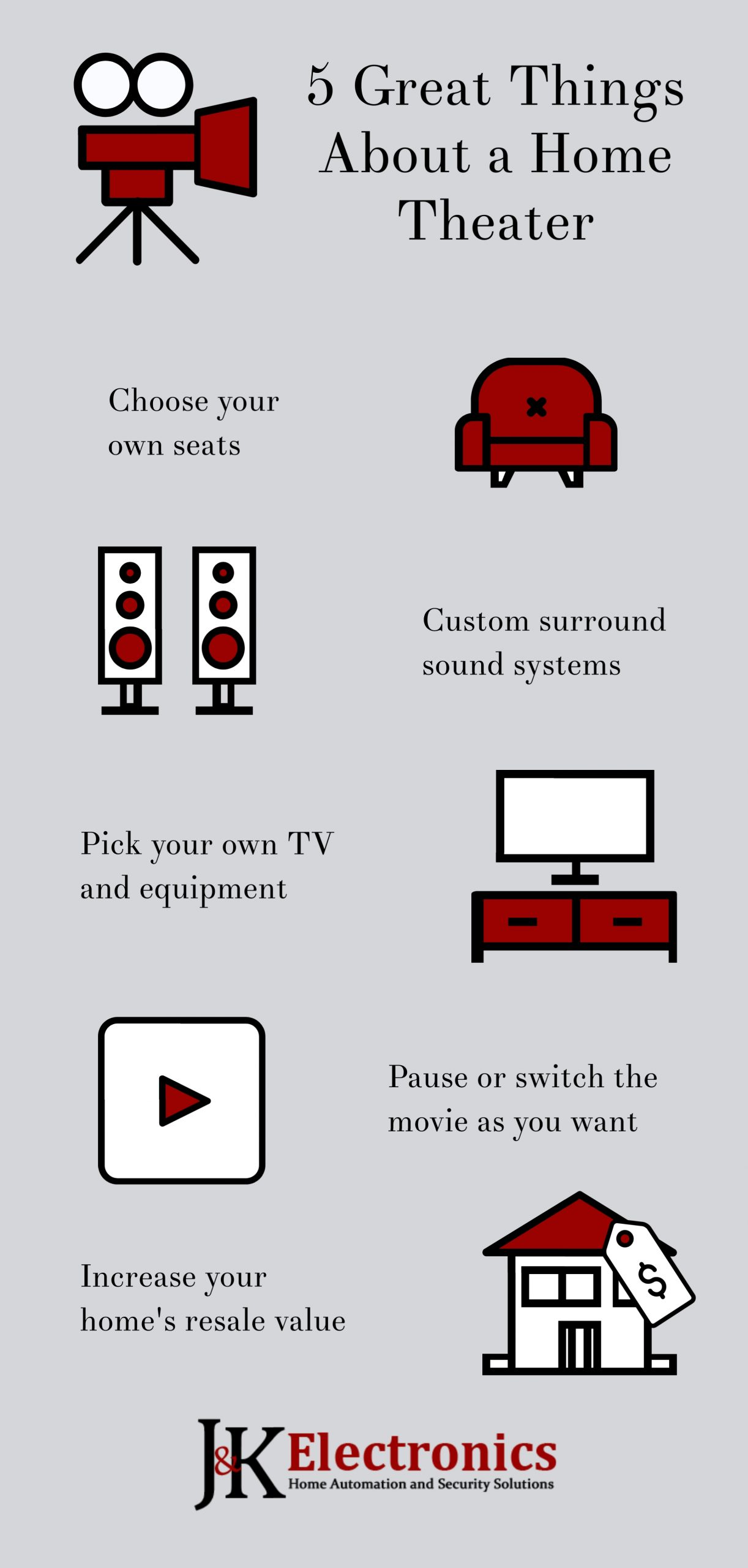 5 Advantages of a Home Theater, J&K Electronics, Houston
